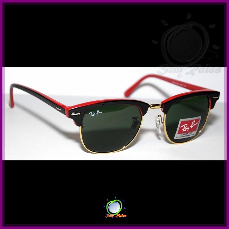 Óculos De Sol Rb3016 Clubmaster Preto E Vermelho - R  103,00 em ... d04e7f20c0