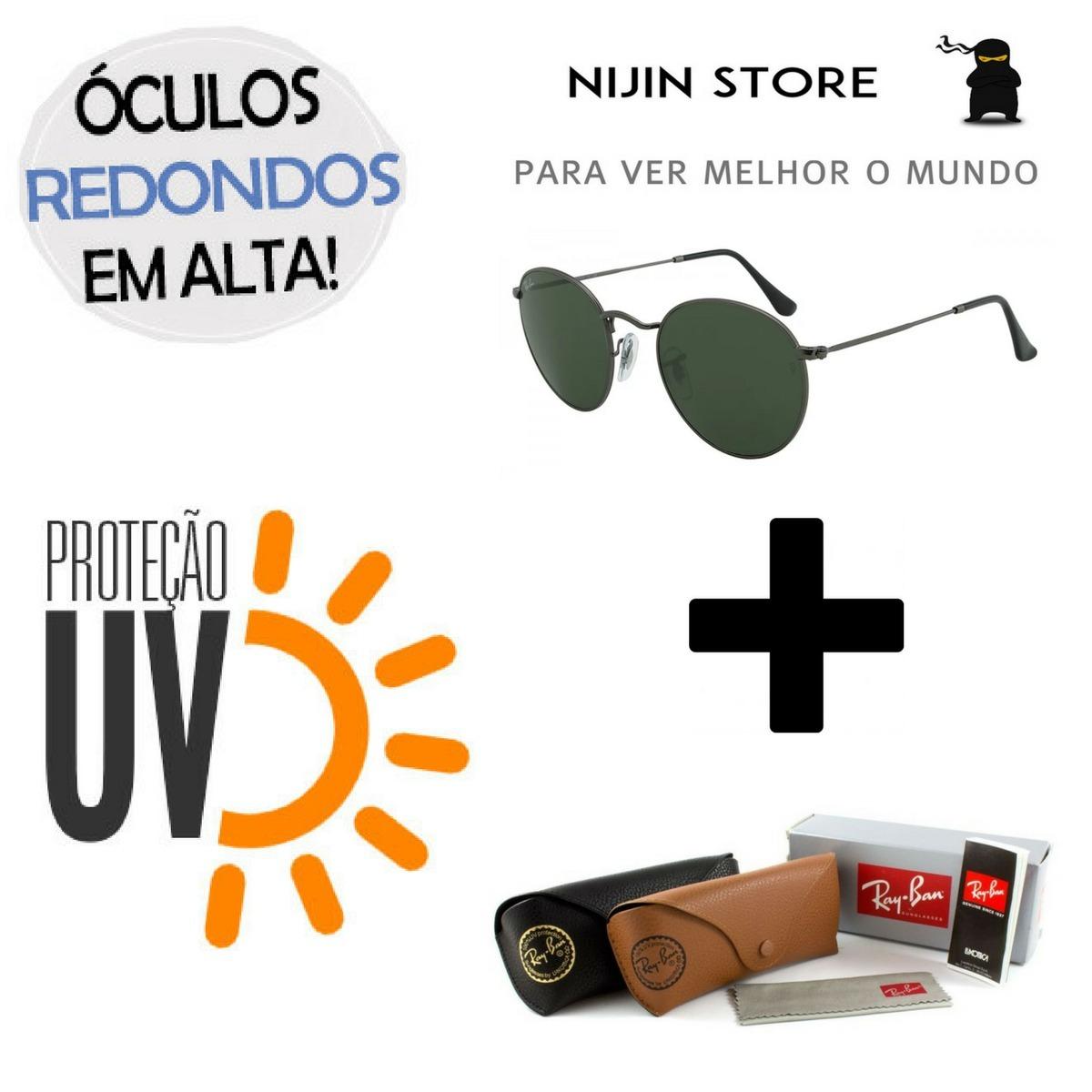 540be66aad2ea oculos de sol rb3447 round redondo metal classic importado. Carregando zoom.
