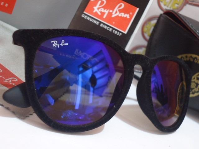 d54aefe06 Oculos De Sol Rb4171 Erika Preto Velvet Camurça Rayban Azul - R$ 119 ...