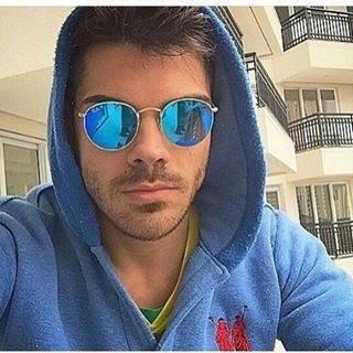 a9c037e30 Óculos De Sol Redondo Azul Lentes Espelhadas Uv 400 Barato - R$ 38 ...