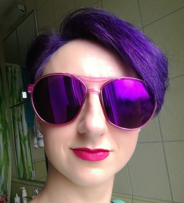 948a10477fa97 Óculos De Sol Redondo Espelhado Rosa Roxo - R  60,00 em Mercado Livre