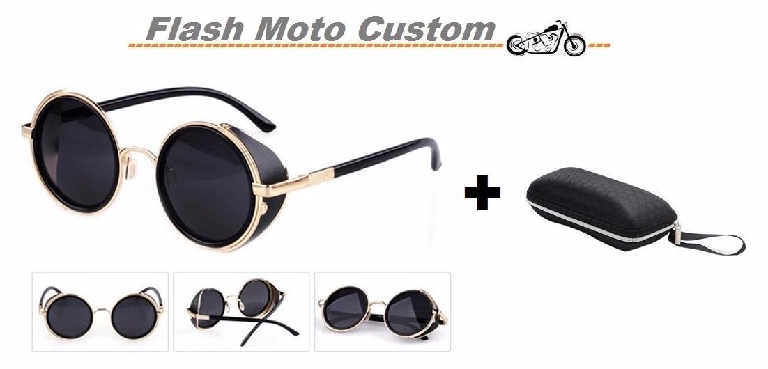 óculos de sol redondo lentes escuras haste dourada vintage. Carregando zoom. cbd7970919