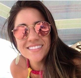 cd6040702 Óculos De Sol Redondo Lentes Rose Espelhado - Frete Rs 15,00 - R$ 29 ...
