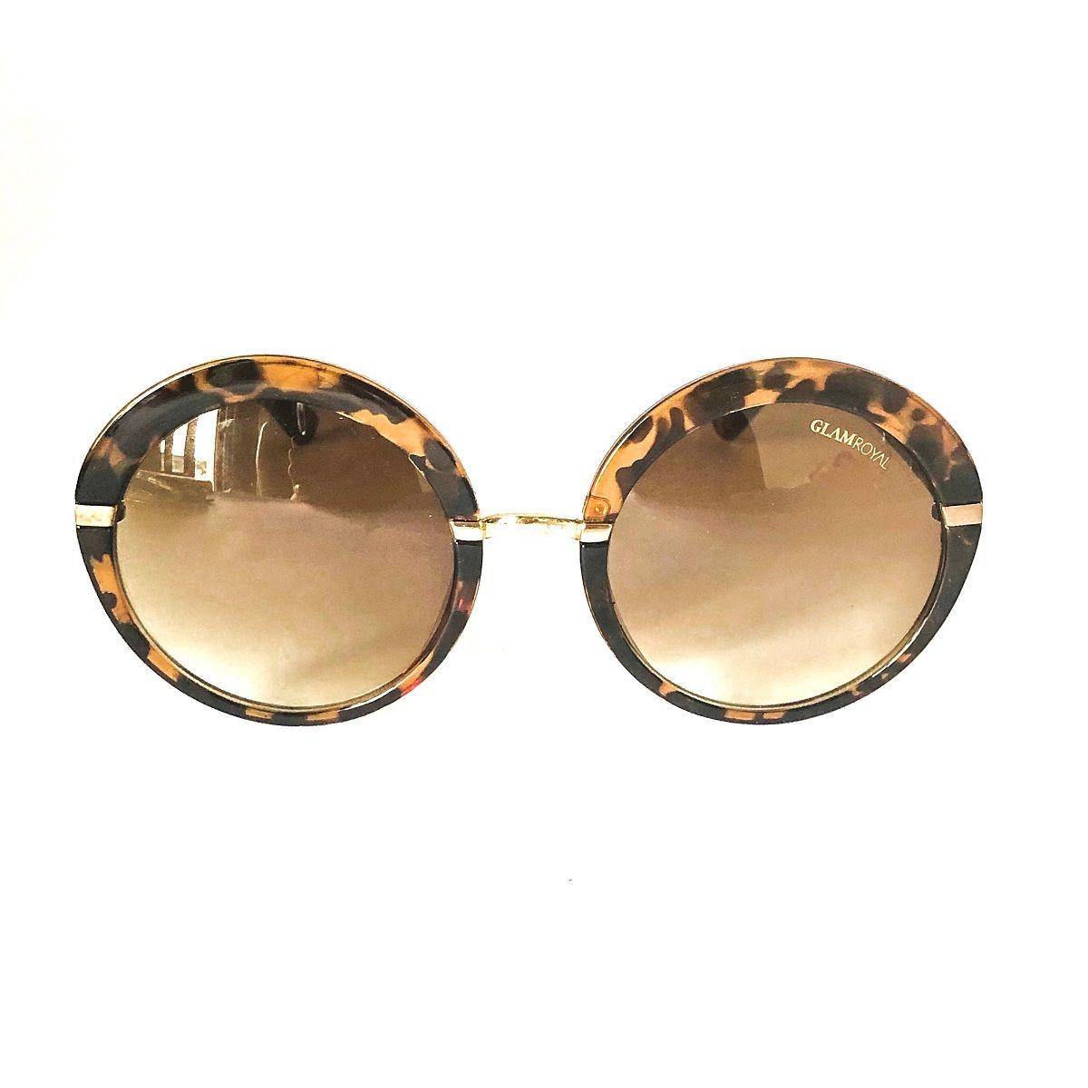 38a747cb4 óculos de sol redondo marrom e armação tartaruga em acetato. Carregando  zoom.