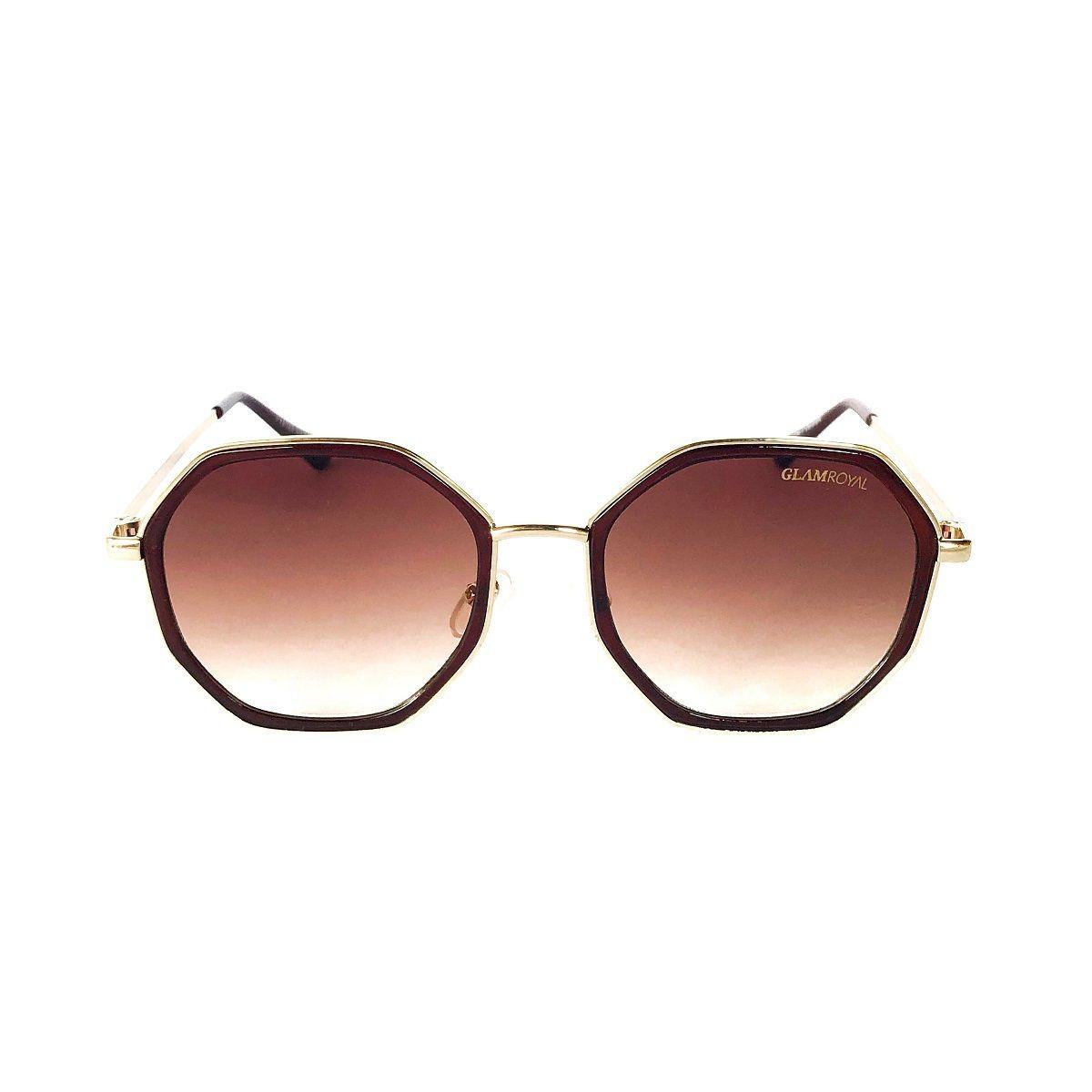 d17967500 óculos de sol redondo marrom octagonal com lente degradê. Carregando zoom.