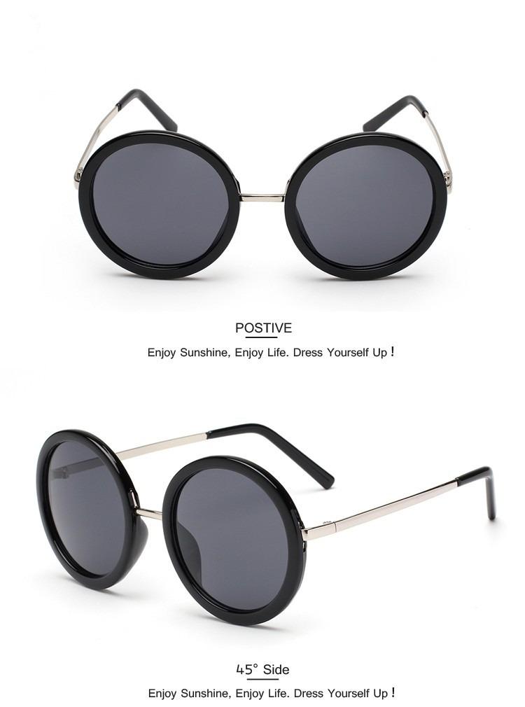 acaa72aab Óculos De Sol Redondo Preto E Prata - R$ 39,50 em Mercado Livre