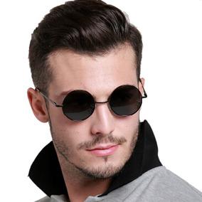 20075399c Oculos De Sol Redondo Preto Feminino Masculino Proteção Uv