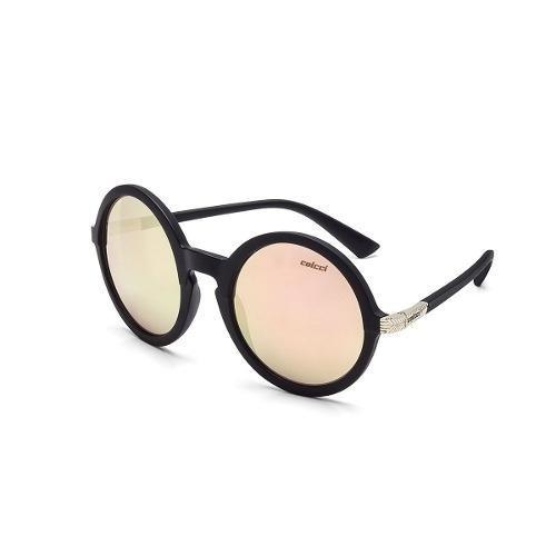 óculos de sol redondo preto lente rosê feminino colcci