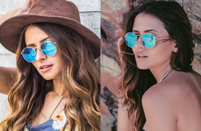 910d3d0983a46 Óculos De Sol Redondo Round Feminino Azul Espelhado Retrô - R  89,00 em.  Oculos de sol Ray ban ...