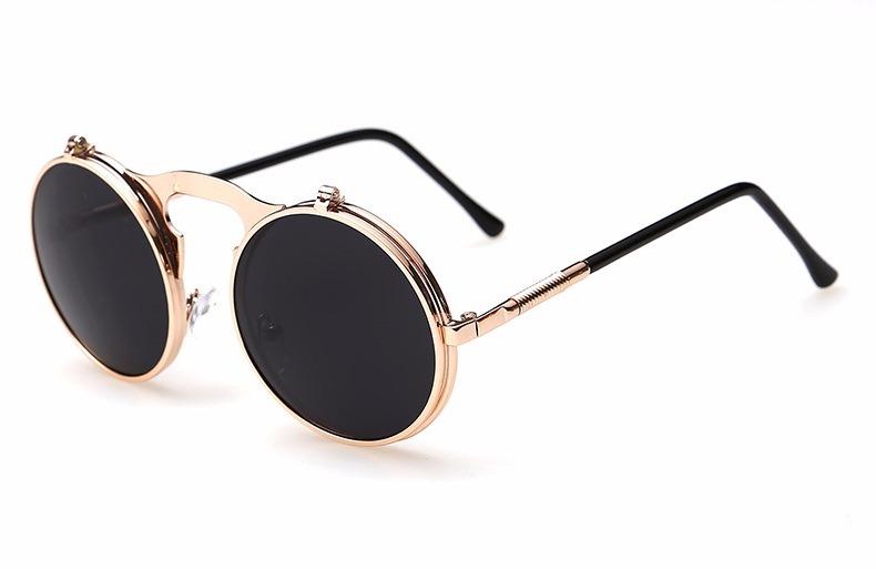073906b7e0c64 Oculos De Sol Redondo Vintage Dourado Lente Flip Dupla Uv400 - R  99 ...