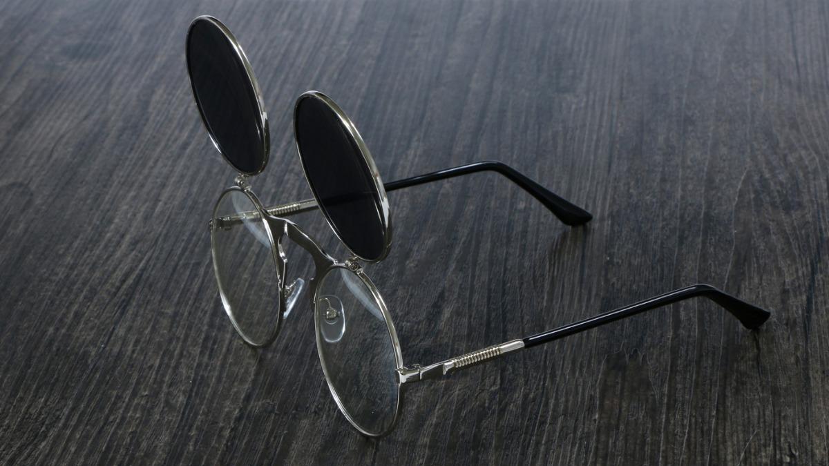 óculos de sol redondo vintage flip duplo steampunk preto. Carregando zoom. 77aca91283