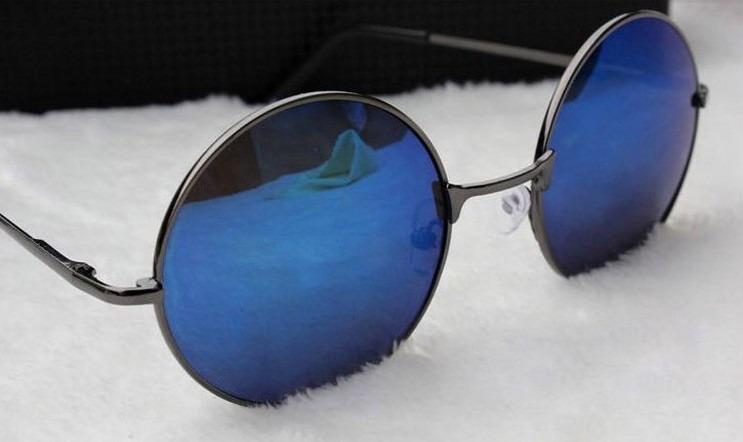 32a1b173d3eed Óculos De Sol Redondo round, Lennon, Cromado, Lentes Azuis - R  69 ...