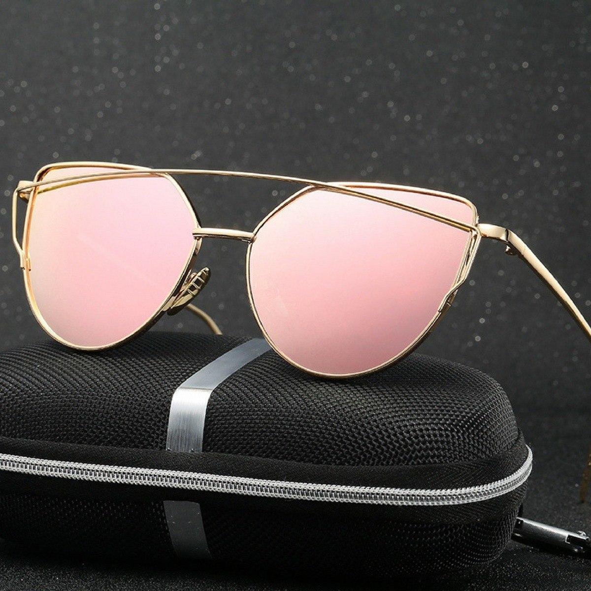 b79ce0e15 óculos de sol reflexivo gatinho rose armação dourada cateye. Carregando zoom .