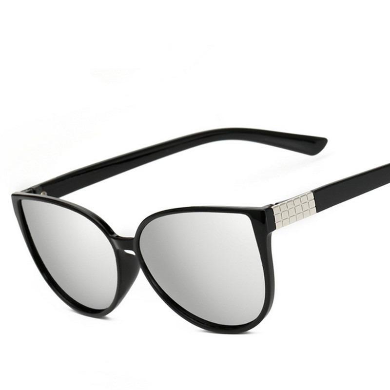 856892285 Óculos De Sol Retrô Cat Eye Lente Prateada - R$ 31,99 em Mercado Livre