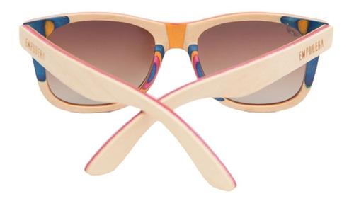 óculos de sol retrô madeira + brinde + case empodera