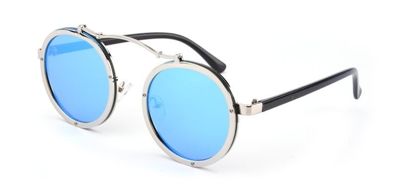 óculos de sol retrô punk espelhado vintage azul redondo. Carregando zoom. a834b01c2a