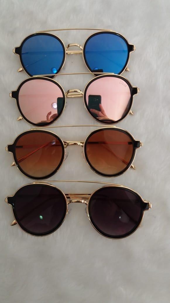 óculos de sol retrô redondo feminino metal lentes proteção. Carregando zoom. 2ba6558555