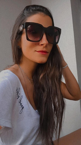 óculos de sol retrô retângulo degradê preto