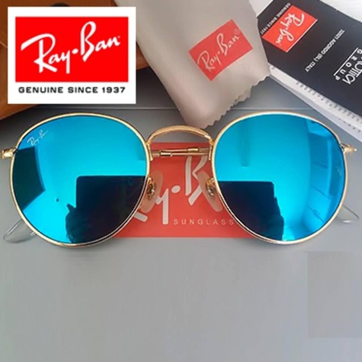 f14427cd3001c oculos de sol round azul rb3447 oculos retrô redondo unissex. Carregando  zoom.