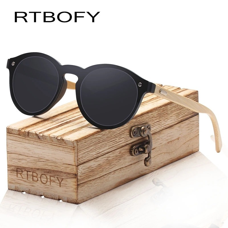 6f1f2befd Óculos De Sol Rtbofy Unissex Hastes De Bambú + Case - R$ 129,00 em ...