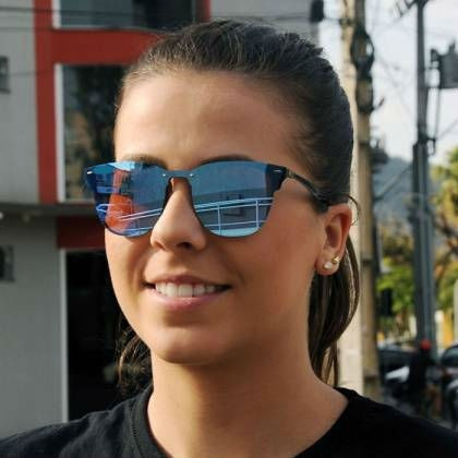 542e705e0fda2 Óculos De Sol Sem Grau Espelhado Preto Azul Coleção 2019 Top - R  39 ...
