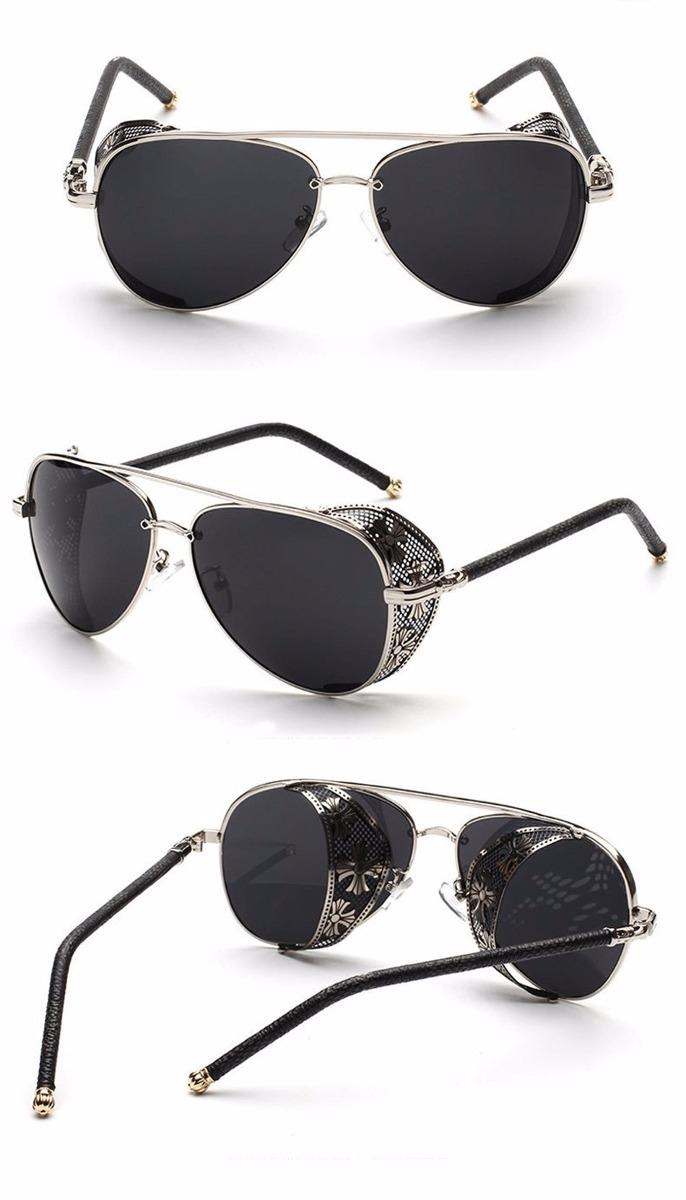 56a9e9776c933 óculos de sol steampunk gótico aviador prata com lente preta. Carregando  zoom.