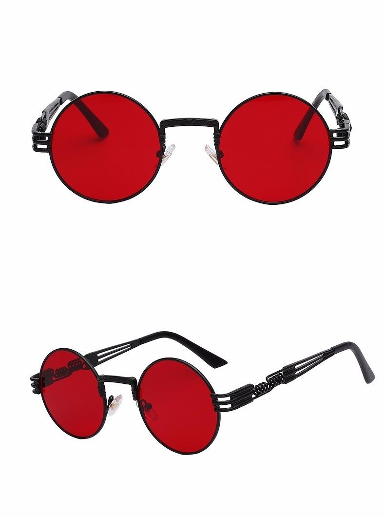 f9d28f1095cf9 oculos de sol steampunk redondo espiral preto vermelho uv400. Carregando  zoom.