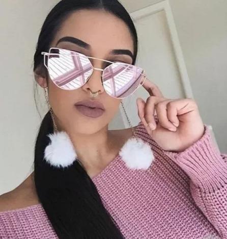 Óculos De Sol Tendencia Feminino Lente Espelhada Azul Pink - R  44 ... 6582aa3c79