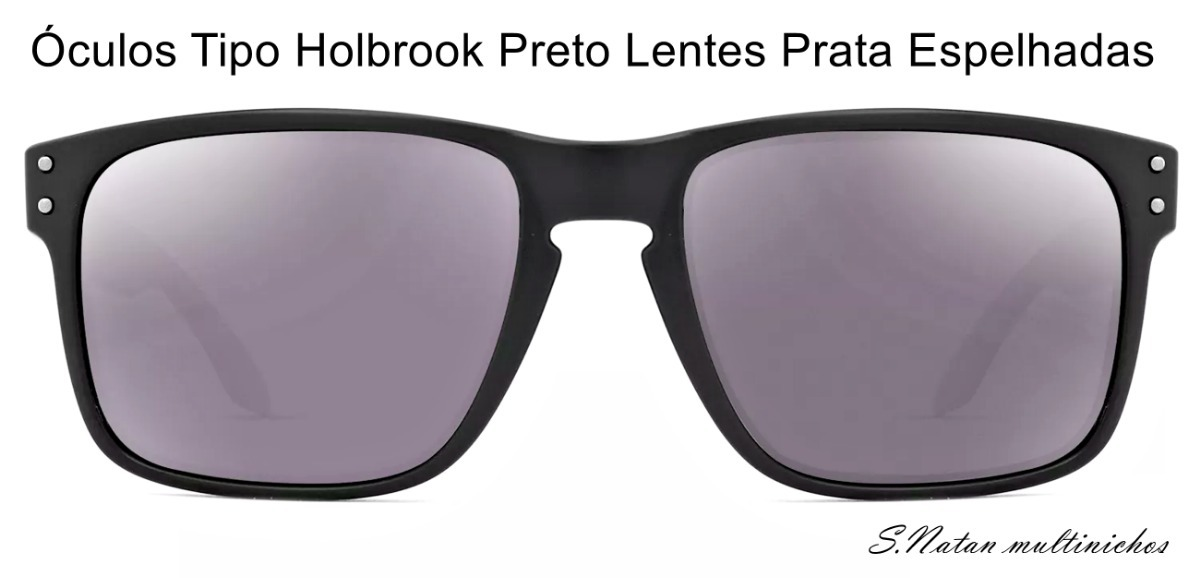 4473781cf Óculos De Sol Tipo Holbrook Preto Lentes Prata Espelhadas!! - R$ 30 ...