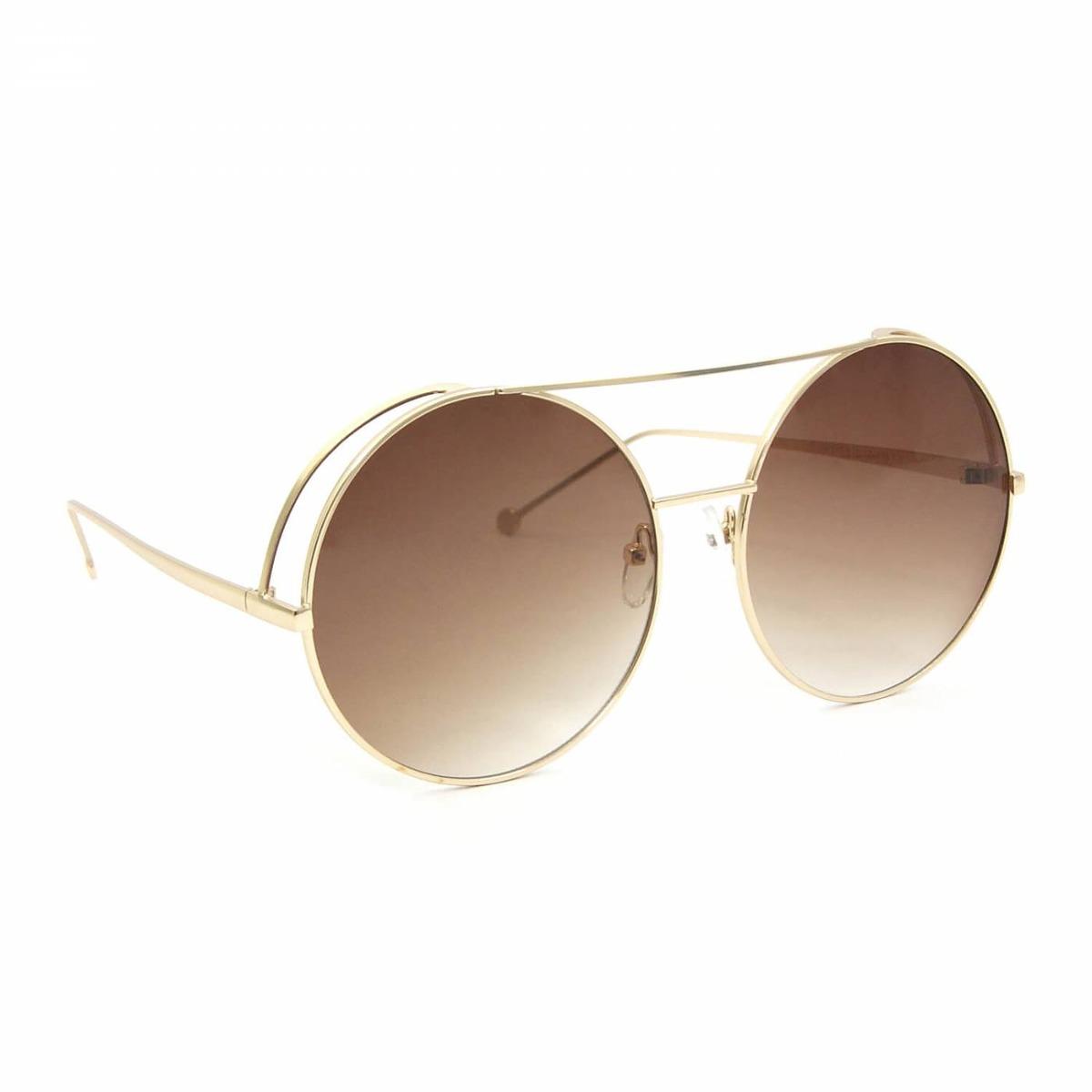 236ddd596 Óculos De Sol Top Bar Redondo Marrom - R$ 95,12 em Mercado Livre