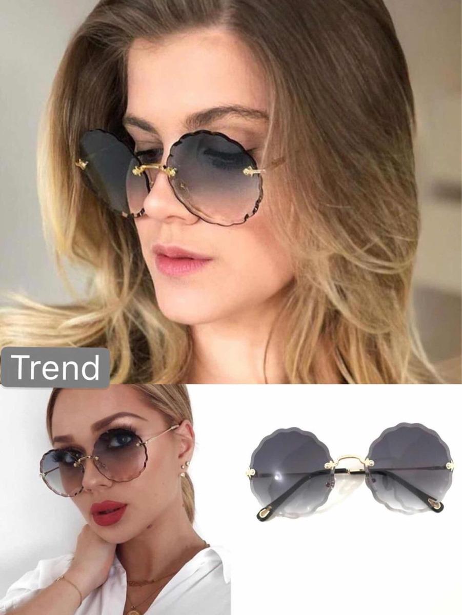ba9ac098a Óculos De Sol Trend Armações Sem Aro Redondo Chic - R$ 80,00 em ...