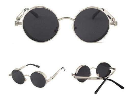 Óculos De Sol Unisex Redondo C  Mola Vintage Gótico Prata - R  99,90 ... b4b5b7cd75