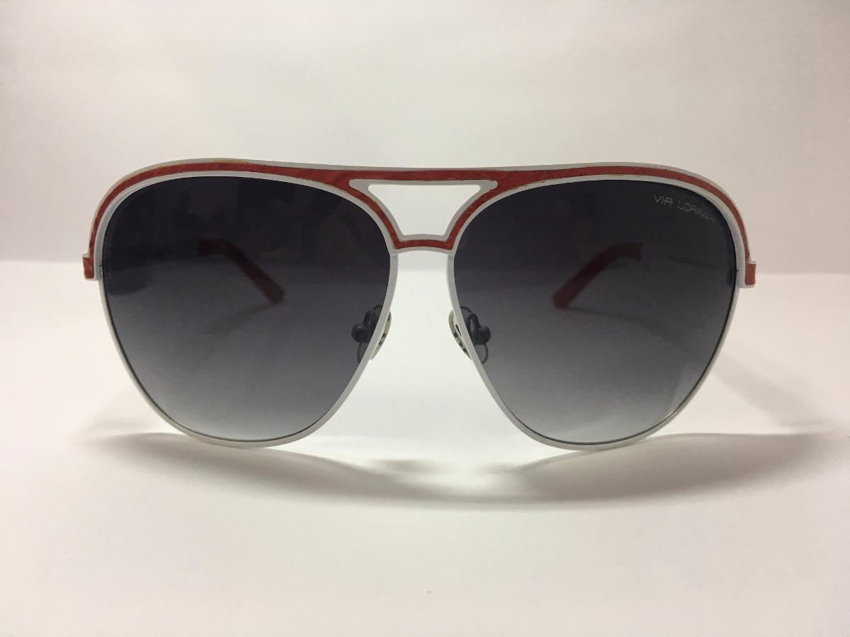 d6965243b óculos de sol unissex branco e couro vermelho - via lorran. Carregando zoom.