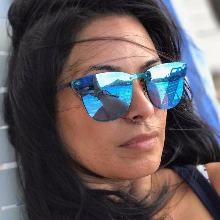 519c3571b Óculos De Sol Unissex Quadrado Lente Azul Espelhado Preto - R$ 39,50 em  Mercado Livre