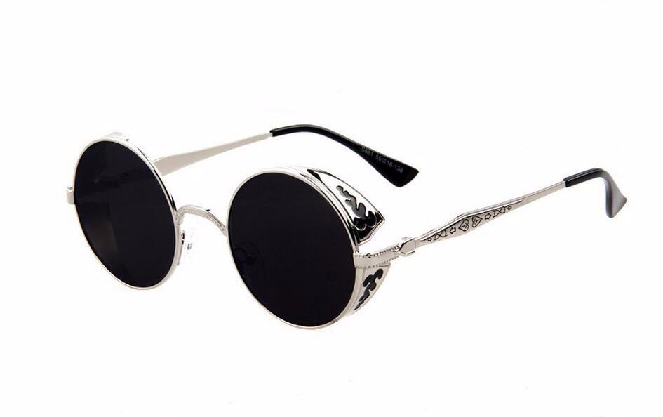 b4030229dd0e9 óculos de sol vitoriano armação prata lente preta uva uvb400. Carregando  zoom.