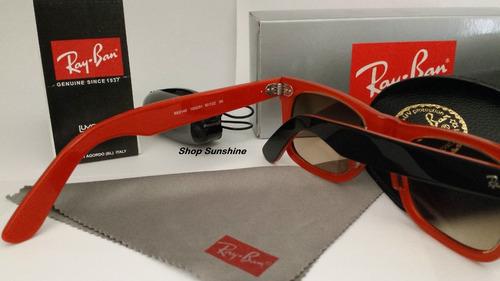 45c52fc37 Óculos De Sol Wayfarer 2140 Armação Preta Interno Laranja - R$ 169 ...