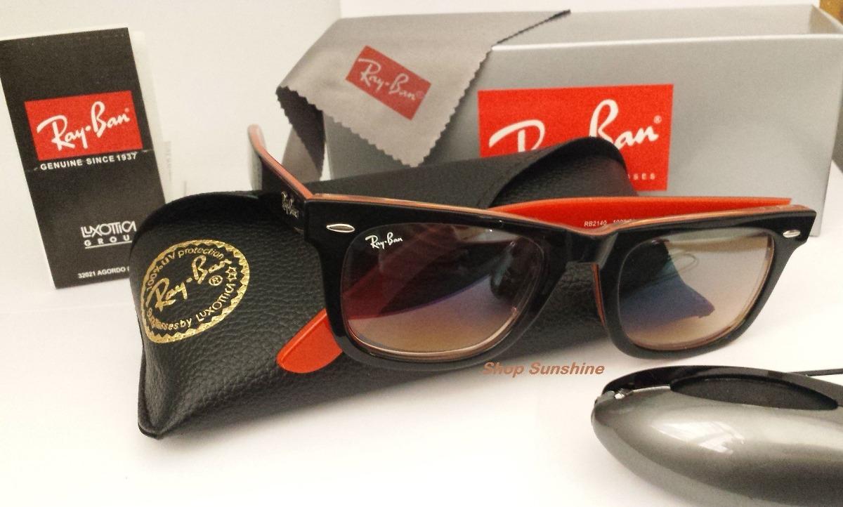 fff0ede13 óculos de sol wayfarer 2140 armação preta interno laranja. Carregando zoom.