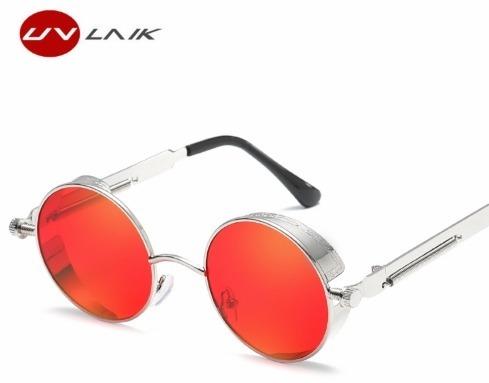 01654ac5a56a9 Óculos De Sol Xlu Redondos De Metal Steampunk Lente Vermelha - R  40 ...
