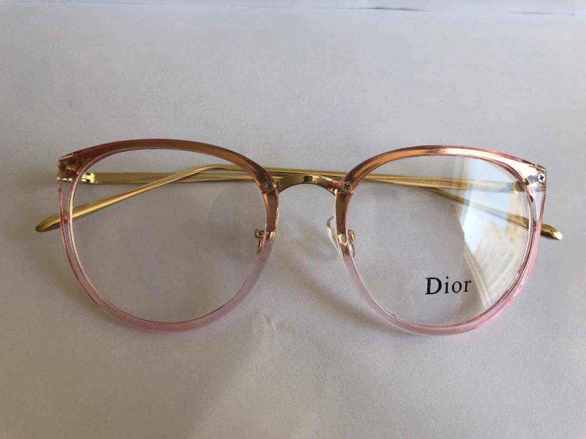 b2200e9826b71 Armação Para Óculos De Grau Dior Rosa Retrô Redondo Feminino - R ...