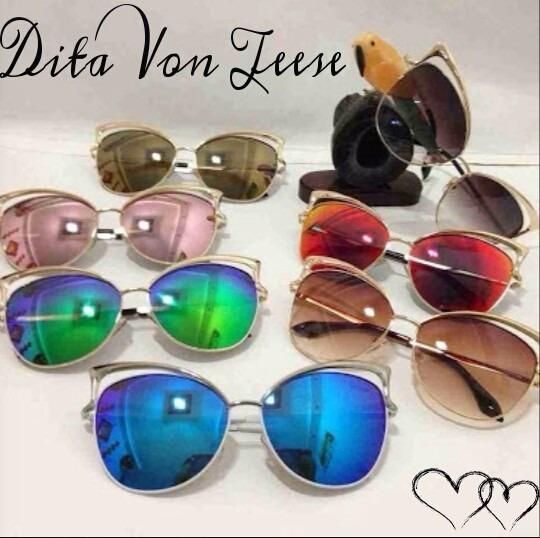 5c1e49846fb19 Óculos Dita Von Teese Gatinho Retro + Estojo + Flanela - R  59