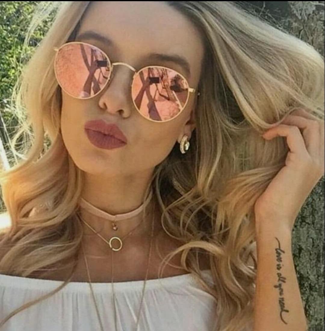 431311dd11d69 Óculos Dourado Rosa Espelhado Luxo Feminino De Sol Tendencia - R  39 ...