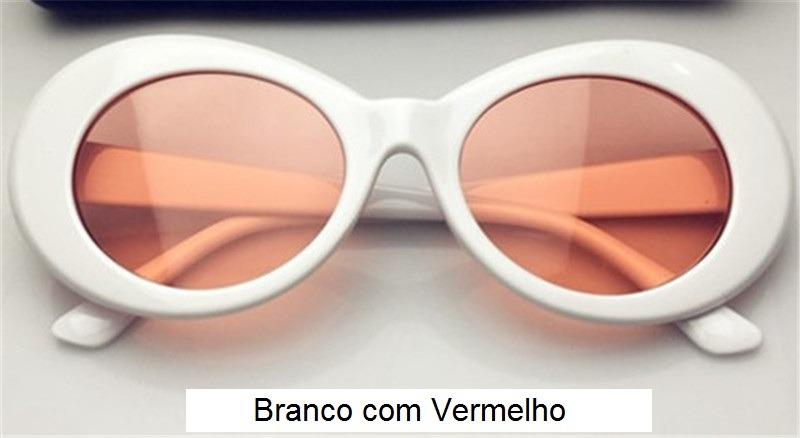 e9b5b652bbe70 oculos e sol retro kurt cobain branco lente vermelha uv400. Carregando zoom.