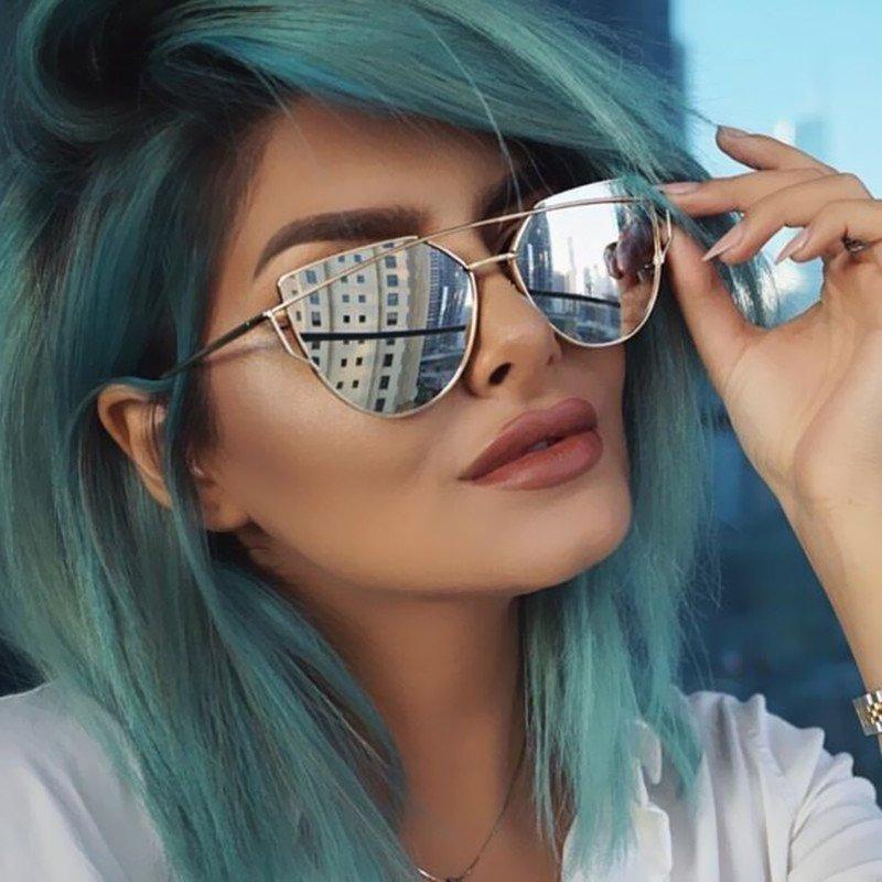 óculos escuro de sol feminino espelhado prateado blogueiras. Carregando  zoom. aa42fdd166