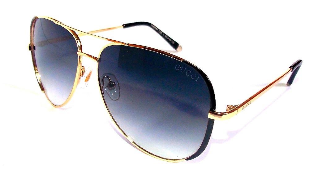 1513cdc35785d Óculos Escuro Feminino Gucci Dourado Redondo Importado - R  105,00 ...