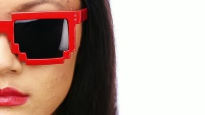 Oculos Escuros De Sol Geek Fashion Pixel Minecraft Vermelho R - Skin para minecraft de oculos