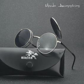 7aa43fa84 Óculos Escuros Flip Up Lente Redonda Retro Vintage Uv400