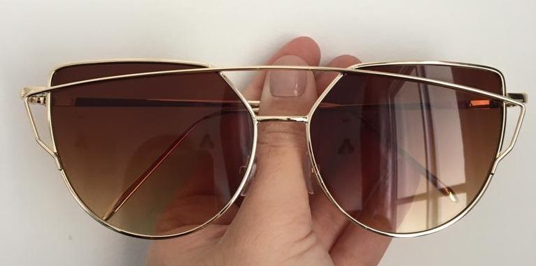411be38ee25eb Óculos Escuros Prot Uv400 Feminino Sol Gatinho Olho De Gato - R  39 ...