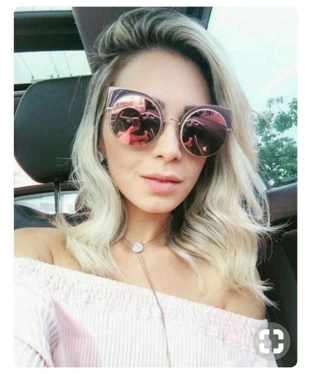 óculos espelhado feminino redondo gatinho última moda barato. Carregando  zoom. 8b968ec4f6