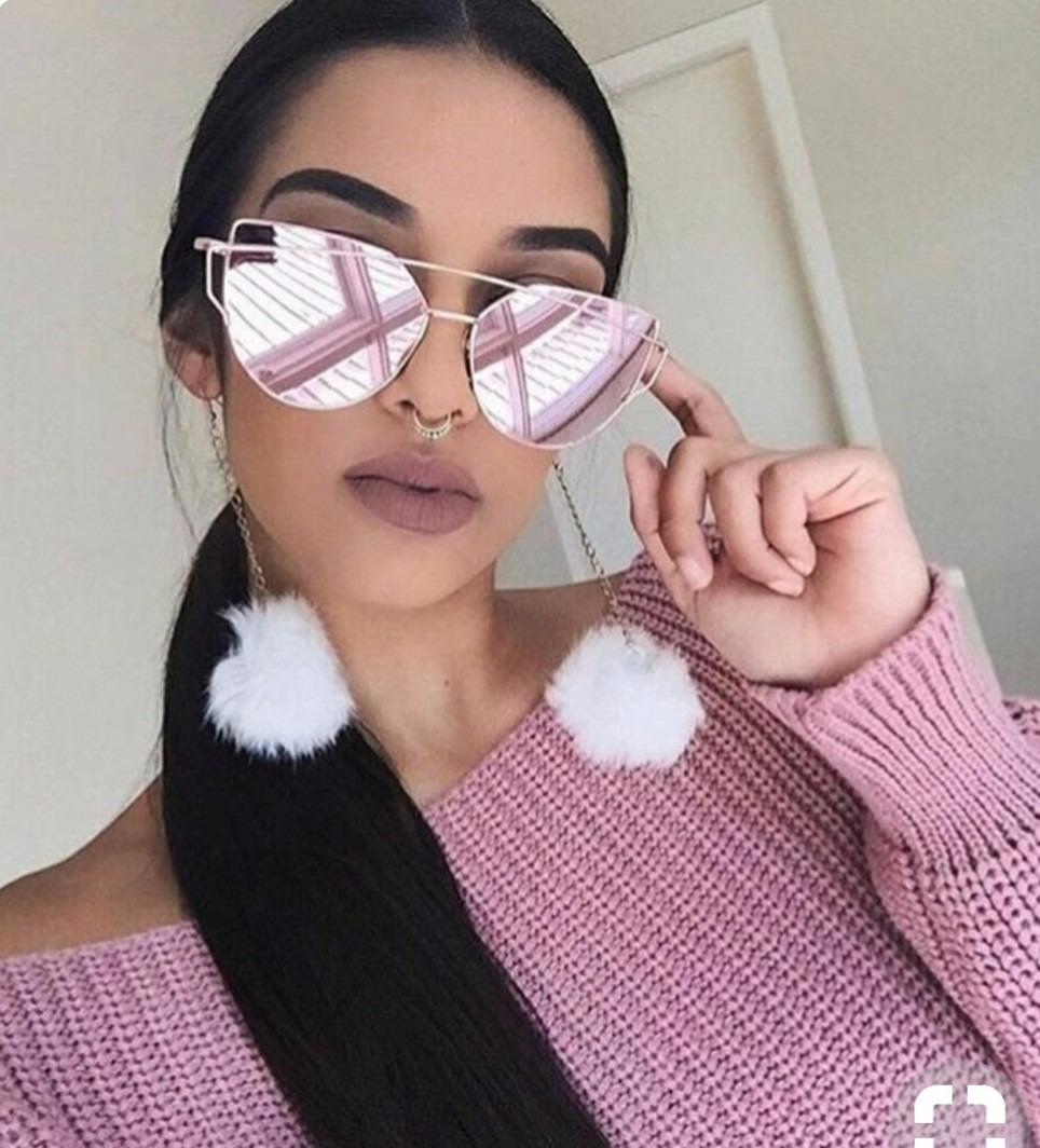 óculos espelhado feminino redondo moda verão luxo espelhado. Carregando  zoom. e544b5ab32