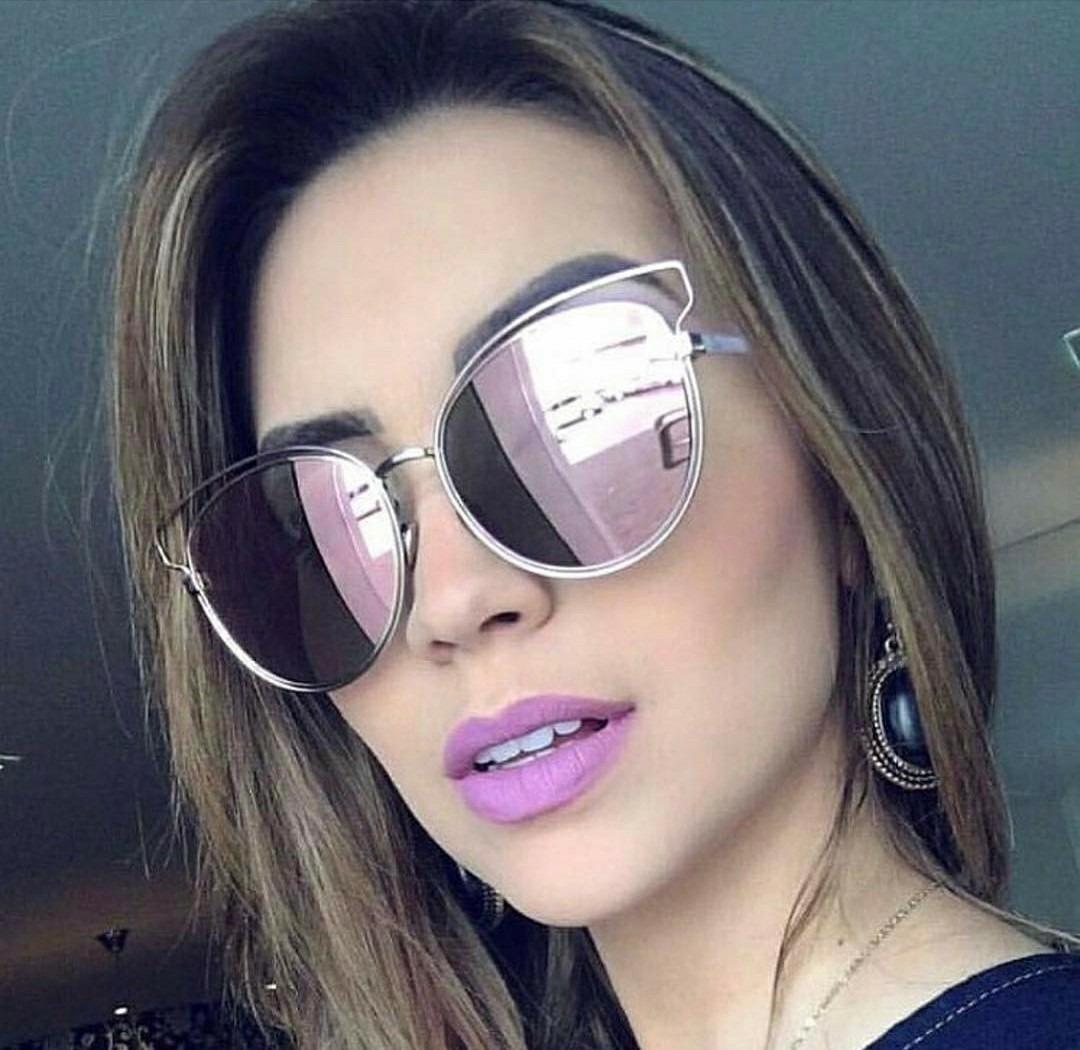 óculos espelhado lente colorida redondo feminino estiloso. Carregando zoom. a31893694f